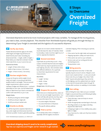 Oversized Freight Shipping Checklist